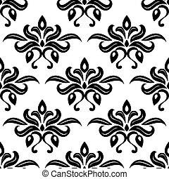 padrão, modernos, foliate, pretas, arabesco, branca