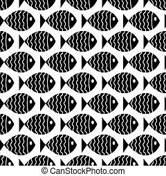 padrão, náutico, seamless, fish.
