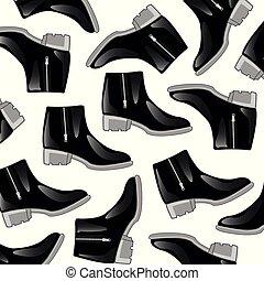 padrão, pretas, botas