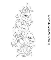 padrão, pretas, vetorial, flor, branca