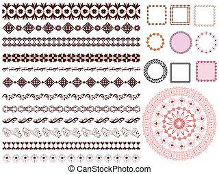 padrão, quadro, jogo, borda, arabesco