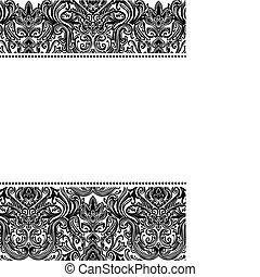 padrão, quadro, vetorial, damasco