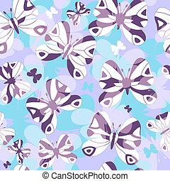 padrão, repetindo, borboletas