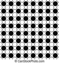 padrão, repetindo, branca, círculo preto