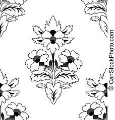 padrão, repetindo, flor, seamless