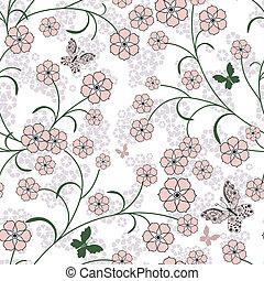 padrão, repetindo, floral