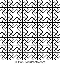padrão, repetindo, pretas, branca, chão