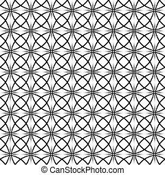 padrão, repetindo, pretas, branca, curvado