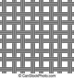 padrão, repetindo, pretas, branca, tecer