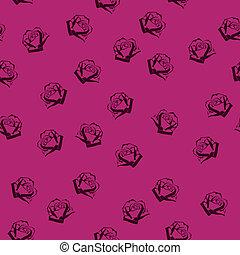 padrão, rosas, seamless, pequeno