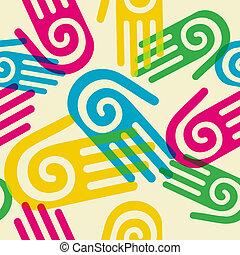 padrão, símbolo, espiral, coloridos, mãos