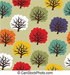 padrão, seamless, árvore