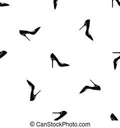 padrão, seamless, alto, sapato preto, calcanhares, mulheres