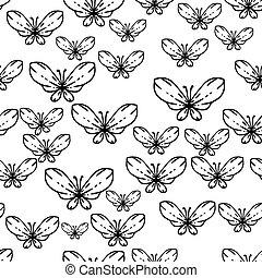 padrão, seamless, borboletas, vetorial, pretas, branca