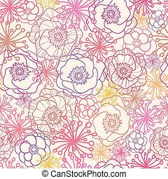 padrão, seamless, campo, fundo, sutil, flores