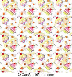 padrão, seamless, coloridos, cupcake