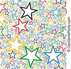 padrão, seamless, estrelas, multicolored