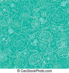 padrão, seamless, experiência verde, esmeralda, floral, lineart