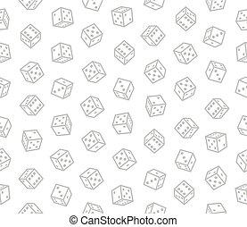 padrão, seamless, experiência., vetorial, dices, jogo, branca