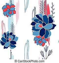 padrão, seamless, mão, desenho, fundo, floral, desenhado, seu