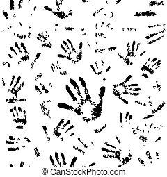 padrão, seamless, mãos