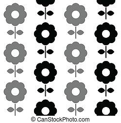 padrão, -, seamless, pretas, floral, branca