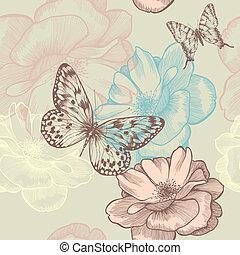 padrão, seamless, rosas, floral