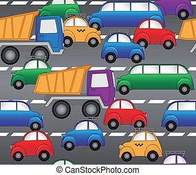 padrão, seamless, vetorial, highway., carros