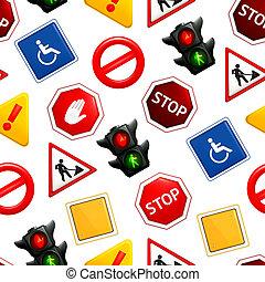 padrão, sinais, seamless, estrada