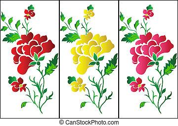 padrão, tatt, flor, rosa, vertical