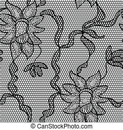 padrão tecido, seamless, vetorial, pretas, renda
