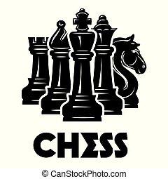 padrão, tema, vetorial, xadrez, xeque-mate, monocromático