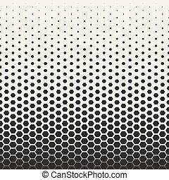 padrão, transição, seamless, halftone, vetorial, pretas, grade, branca, hexagonal