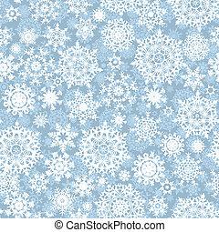 padrão, vetorial, flocos, seamless, neve