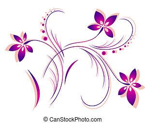 padrão, vetorial, flor