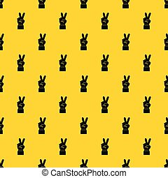 padrão, vetorial, vitória, sinal mão