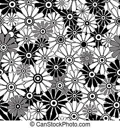 padrão, white-black, repetindo, floral