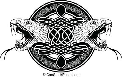 padrões, celta, cobra