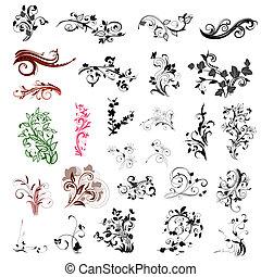 padrões florais, abstratos, jogo