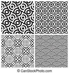 padrões, jogo, seamless, (vector)