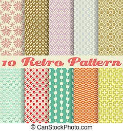 padrões, retro, diferente, seamless, (tiling)., vetorial