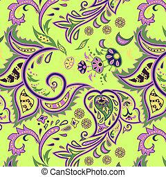 padrões, seamless, oriental, verde
