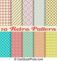 padrões, (tiling), retro, diferente, seamless, dez, vetorial