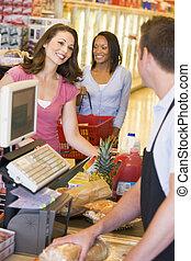pagar, compras, mercearia, mulheres