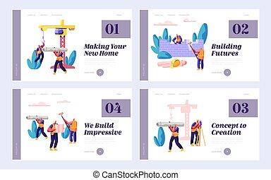page., jogo, pessoas, processo, house., desenho, teia, day., construir, site web, apartamento, trabalhador, aterragem, construção, ilustração, caricatura, fase, predios, construtor, trabalho, ou, projeto, vetorial, equipe, profissional, página