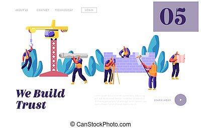 page., processo, casa, desenho, engenheiro, teia, work., uniforme, construir, site web, apartamento, trabalhador, ilustração, construção, aterragem, caricatura, fase, predios, construtor, ou, projeto, vetorial, equipe, profissional, página