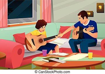 pai, filho, tocando, seu, guitarra, ilustração