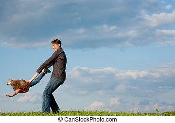 pai, jogando, criança