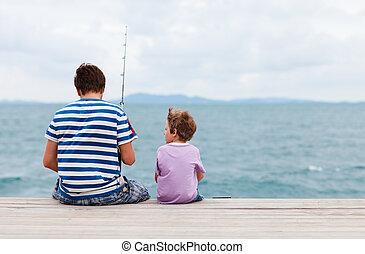 pai, pesca, junto, filho