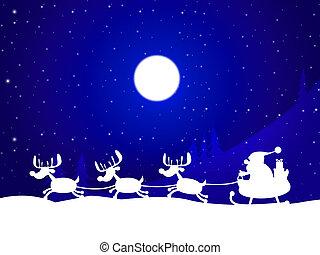 pai, xmas, indica, rena, celebração natal